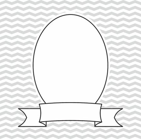 zig: Vector photo frame on grey and white zig zag background