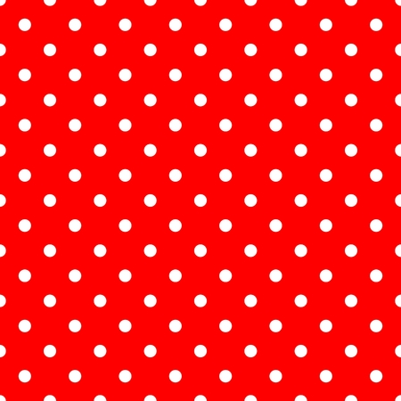 repetition row: Tile vector pattern with white polka dots on red background