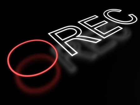 rec: Record neon sign isolated on black background