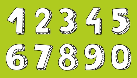 7 9: Hand drawn white vector numbers isolated on green background Illustration