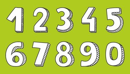 numero nueve: números vector dibujado a mano aislado en el fondo verde