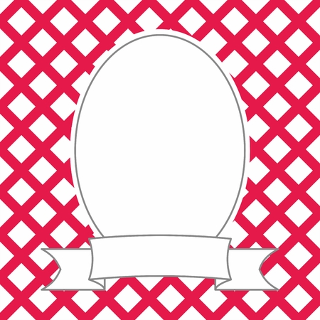Hand drawn decorative vector photo frame on red and white background Vectores