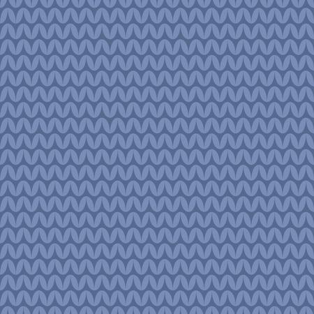 warm clothing: Tile blue knitting vector pattern or winter background Illustration