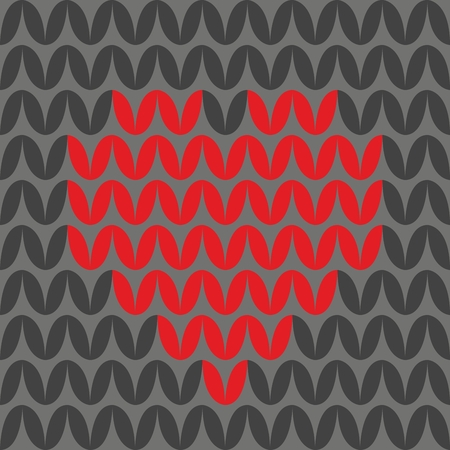 christmas plaid: Tile knitting vector pattern with red heart on black background