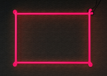 3d lightning: 3d render pink neon frame isolated on black brick wall background