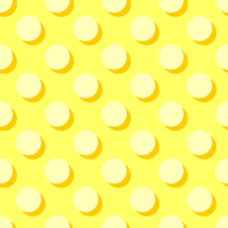 Tile vector pattern with polka dots and orange shadow on yellow background