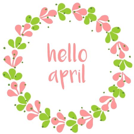 Hola tarjeta de abril de acuarela vectorial Corona de primavera