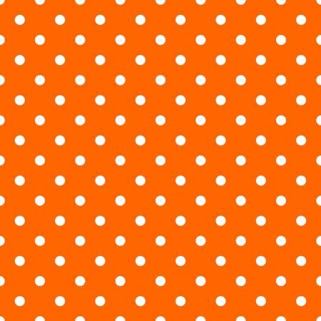 polka dots background: Tile vector pattern with white polka dots on orange background Illustration