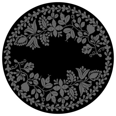 wedding photo frame: Laurel wreath dark vector frame on white background