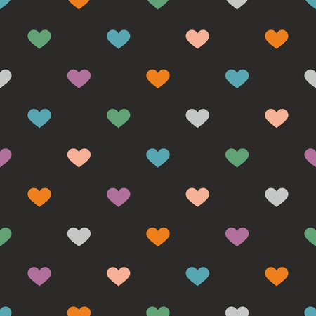 seamless tile: Tile vector pattern with hearts on black background for seamless decoration wallpaper