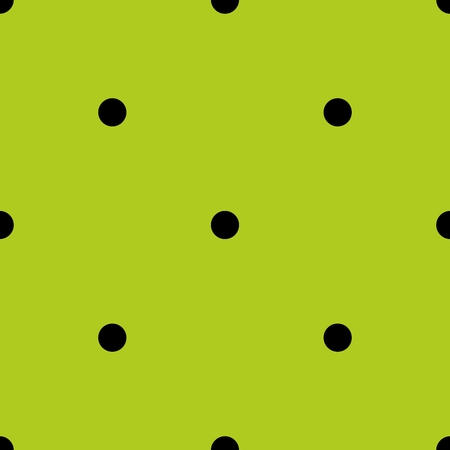 preppy: Tile spring pattern with black polka dots on fresh grass green background.