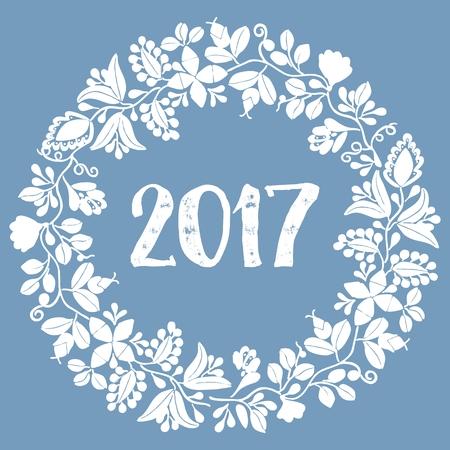 eco notice: Pastel laurel wreath New Year 2017 white frame isolated on blue background Illustration