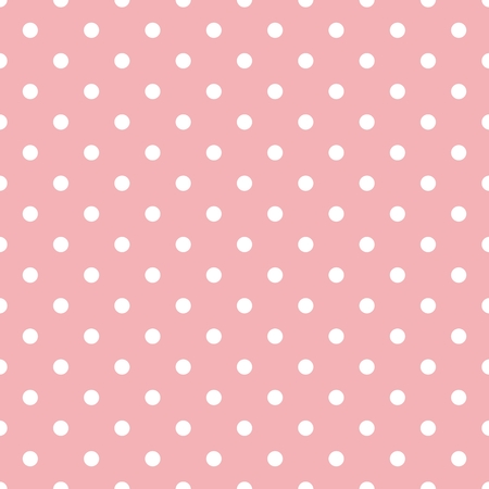 Tile pattern with white polka dots on pastel pink background