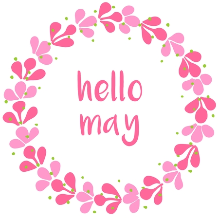 Hello may pink wreath vector card on white background Stock Illustratie