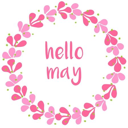 Hola puedan rosa corona de la tarjeta del vector en el fondo blanco Foto de archivo - 54061221