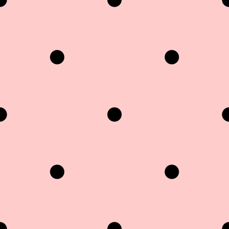pink and black: Tile vector pattern with black polka dots on pastel pink background