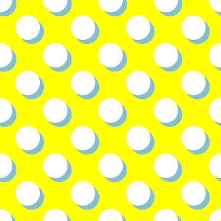 big and small: Tile vector pattern with white polka dots and mint green shadow on yellow background