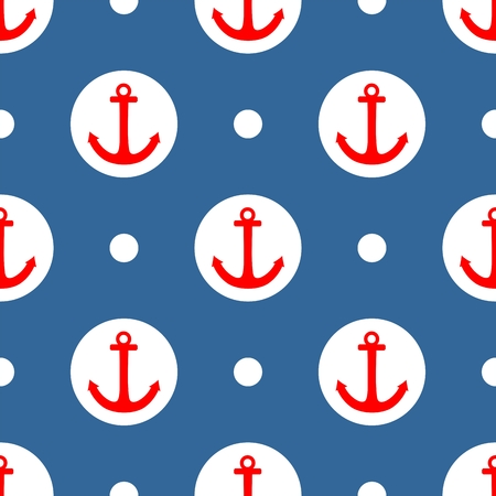 navy blue background: Tile sailor vector pattern with red anchor and white polka dots on navy blue background