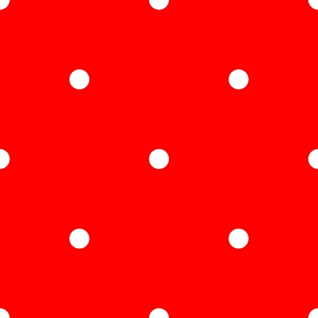 repetition dotted row: Tile vector pattern with white polka dots on red background