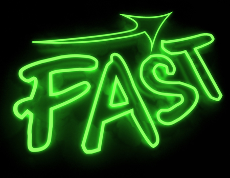 neon sign: Fast neon sign isolated on black background Stock Photo