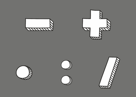 Plus, minus, multiplication and division hand drawn vector icon isolated on grey background