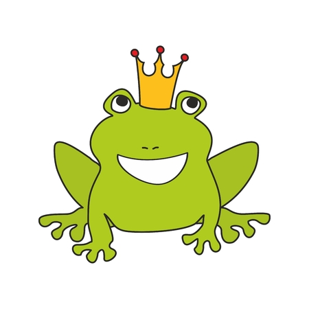 princess frog: Prince or princess frog with crown vector illustration isolated on white background Illustration