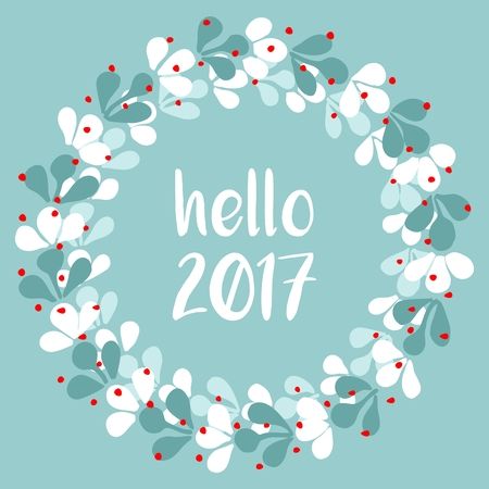 hello: Pastel laurel wreath hello New Year 2017 white vector isolated on mint green background Illustration