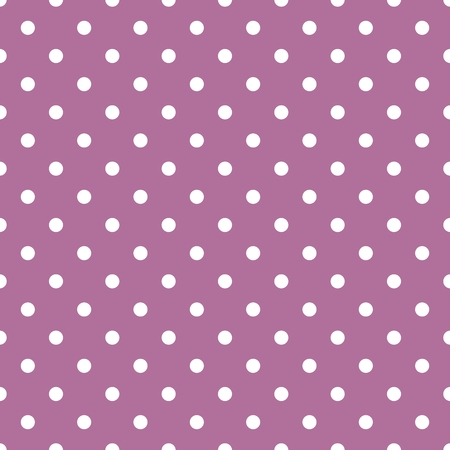 repetition dotted row: Tile vector pattern with small white polka dots on pastel violet pink background Illustration