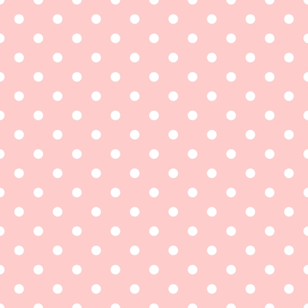 on a white background: Seamless pattern with white polka dots on tile pastel pink background