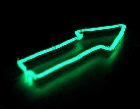 go to store: 3d render green arrow neon sign isolated on black background