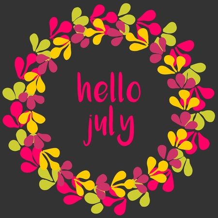 hello: Hello july vector wreath sunny yellow, green and pink card on black background