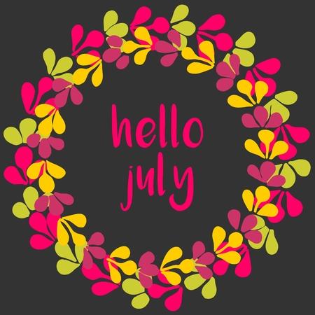 julio: Hola julio vectorial Corona soleado tarjeta amarilla, verde y rosa sobre fondo negro