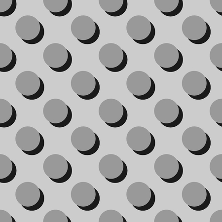 preppy: Tile grey vector pattern or background with big polka dots with shadow Illustration