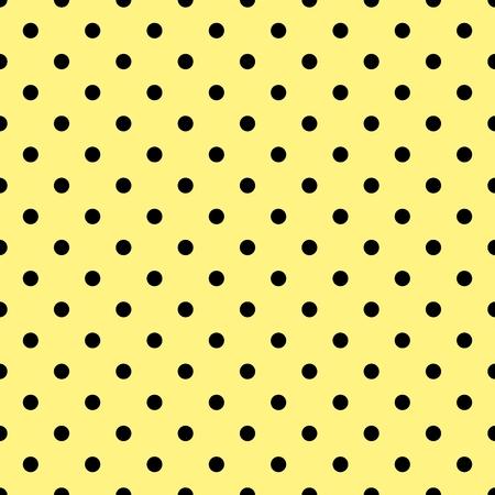 amarillo y negro: patrón de mosaico del vector con los lunares negros sobre fondo amarillo