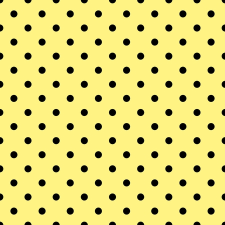 black yellow: Tile vector pattern with black polka dots on yellow background Illustration