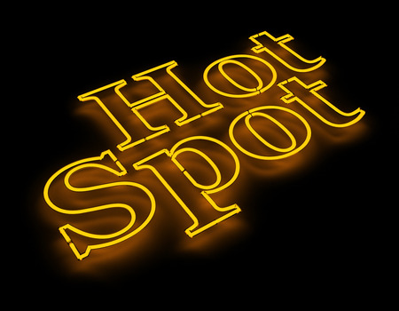 wireless hot spot: Hot spot internet icon isolated on black background Stock Photo