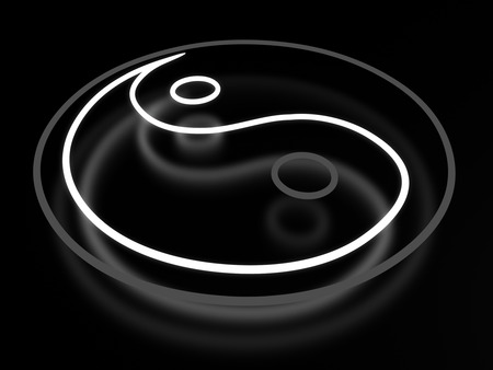 ying and yang: Ying yang neon sign isolated on black background Stock Photo