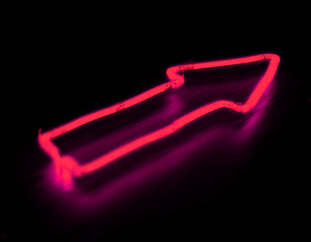 night club: 3d render arrow pink neon sign isolated on black background