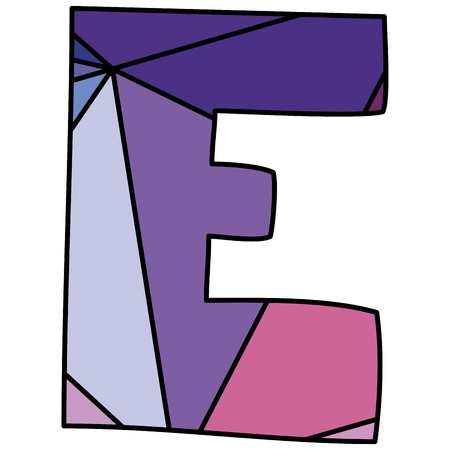 character abstract: E wrapping surface pastel vector alphabet letter isolated on white background