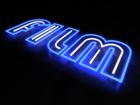 neon sign: Film neon sign isolated on black background