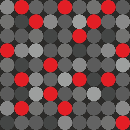 repetition dotted row: Tile vector pattern with big red, grey and black polka dots on grey background