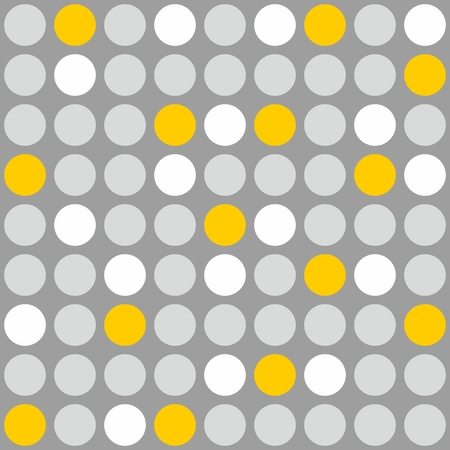 Tile vector pattern with grey, white and yellow polka dots on grey background