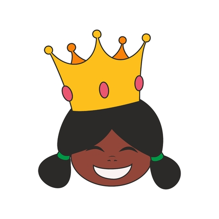 Happy little african princess head in crown vector illustration isolated on white background