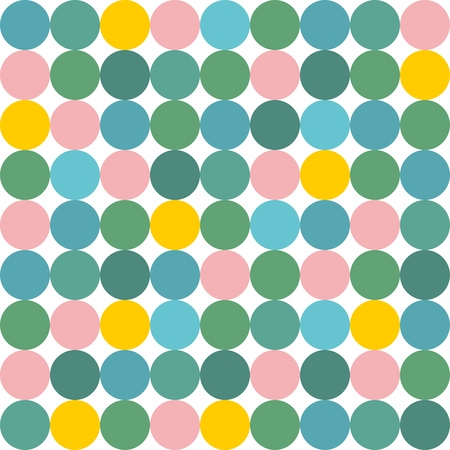 polka: Tile vector pattern with pink, yellow and green polka dots on grey background