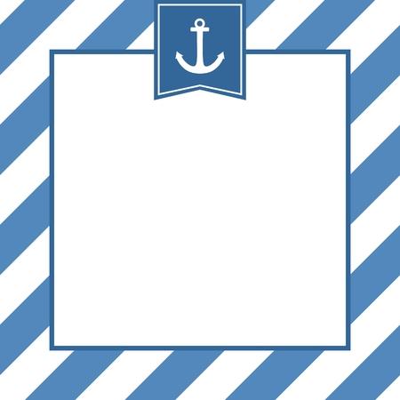 vector de la tarjeta náutica o invitación con el ancla, fondo azul y rayas blancas