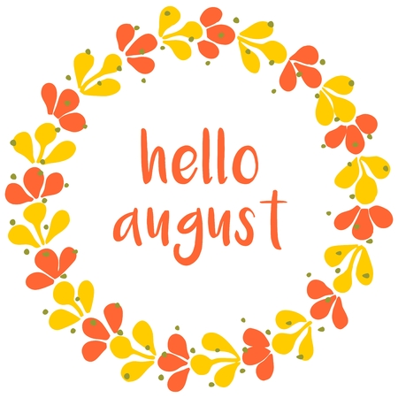 august: Hello august vector wreath sunny yellow and green card Illustration