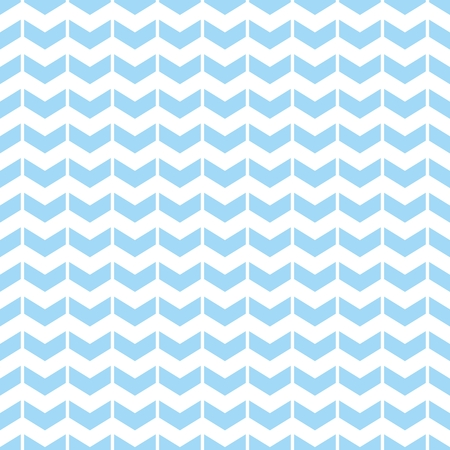 Tile vector pattern with blue zig zag arrow print on white background