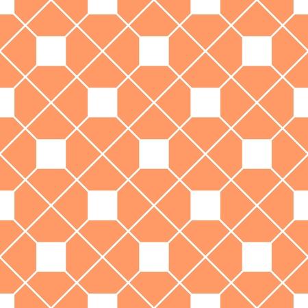 checkered wallpaper: Checkered tile vector pattern or orange and white wallpaper background Illustration
