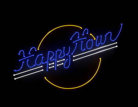 neon sign: Happy hour neon 3d sign on black background Stock Photo