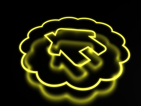 3d render neon home icon isolated on black background Stock Photo